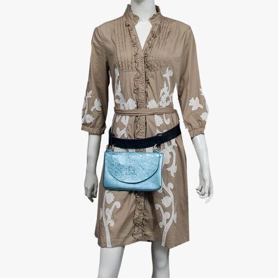 bolso riñonera aleaspero asia metal azul cinturon