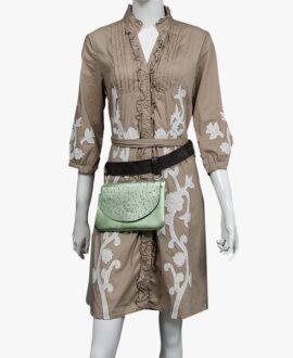 bolso riñonera aleaspero asia metal verde cinturon