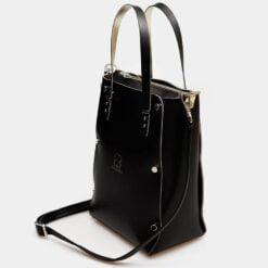 bolso de piel vertical negro lateral